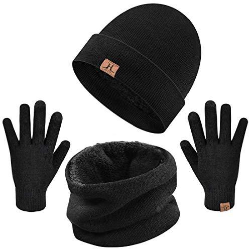 XT_Direct Unisex Hombres Mujeres Winter Warm Knitted Set, Set de bufanda, gorro...