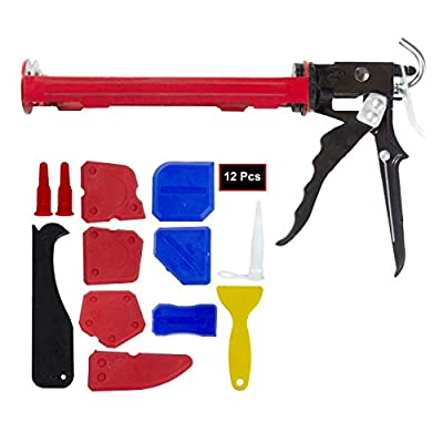 Caulk Gun, SocsPark Heavy Duty Caulking Gun, 1/10 Gallon Cartridge, 16:1 Thrust Ratio. 12 Pieces Caulking Tool Kit, Silicone Sealant Finishing Tool by SocsPark