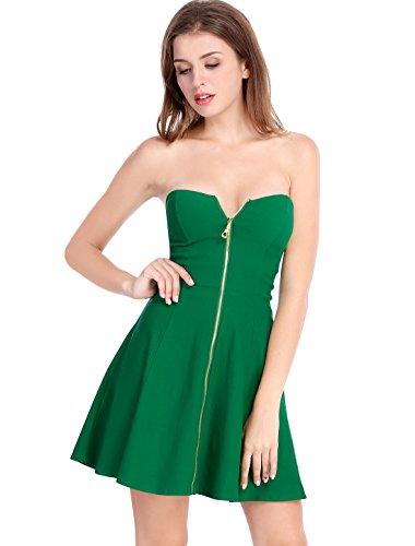 Allegra K Women's Strapless Exposed Zipper Front Tube Mini Party A-Line Dress Green Large