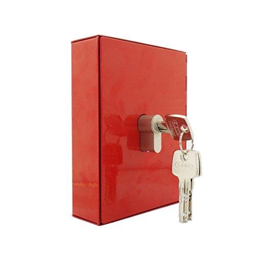 FORMAT Not-Schlüsselbox NS 2 - komplett aus Metall - ohne Glaseinsatz - vorgerichtet für den Einbau eines Halbzylinders - rot