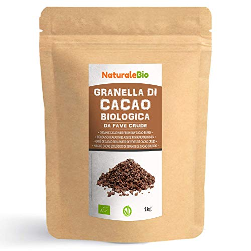 Grué de Cacao Cru Bio 1Kg. Organic Raw Cacao Nibs. 100% Naturel et Pur. Produit au Pérou par la Plante Theobroma Cacao. Source de magnésium, potassium et fer. NaturaleBio