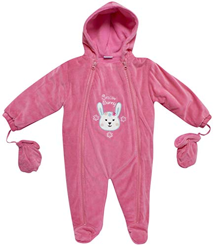 Sweet and Soft Girls Fleece Footed Pram Snowsuit with Mittens (Newborn/Infant) (Fuchsia Bunny, 24 Months)