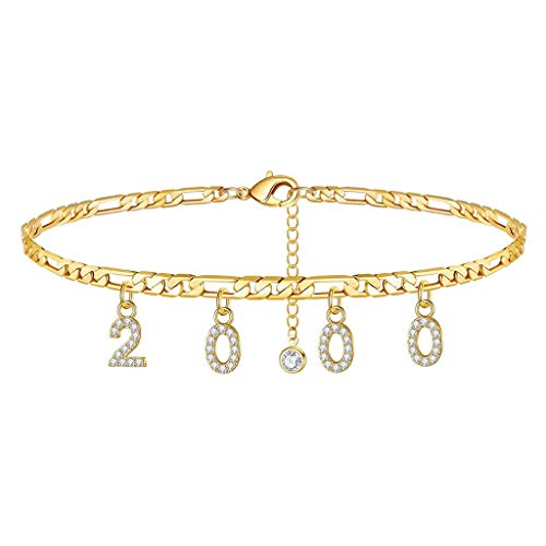 Geburtsjahr Frauen Fußkettchen gefüllt mit personalisierten Fußkettchen Beach Feet Jewelry - Custom Layered Year Armbänder mit Verstellbarer Gliederkette zum Weihnachtsgeburtstag (Gold, 2000 Jahr)