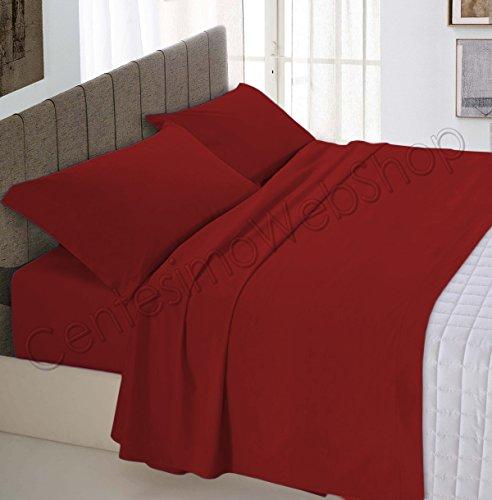 Centesimo Web Shop Completo Lenzuola Letto per Materasso 160X190 cm Prodotto in Italia 100% Cotone Due PIAZZE Matrimoniale Tinta Unita Rosso Scuro -
