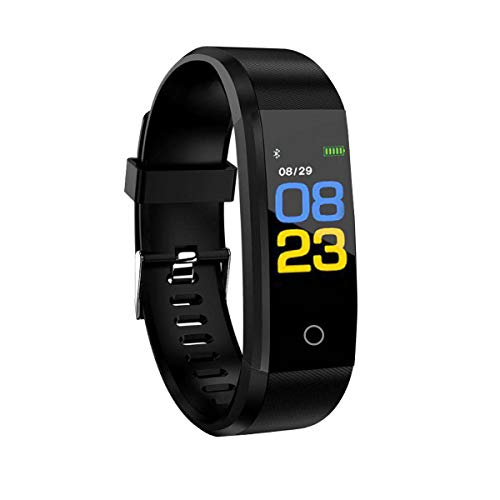 RBNANA - Orologio fitness tracker, per uomo, donna e bambini, impermeabile, con monitoraggio del sonno, contapassi e cardiofrequenzimetro, colore: nero