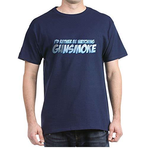 CafePress I'd Rather Be Watching Gunsmoke Dark T Shirt 100% Cotton T-Shirt Navy