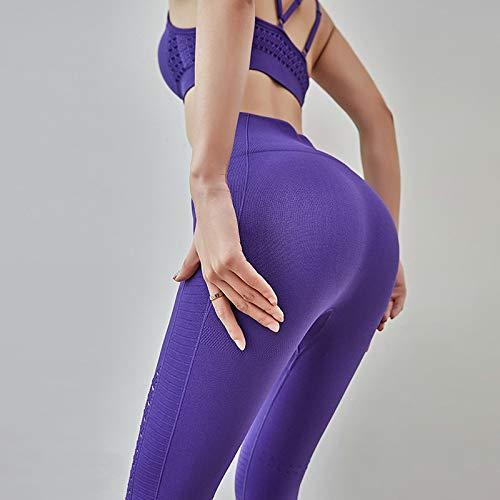 Pantalones De Yoga Pantalones De Yoga Para Mujer De Cintura Alta Con Hueco De TiburóN EláStico Leggings De Gimnasio Fitness Mujer Leggings Deportivos Pantalones De Yoga Para Correr M PúRpura