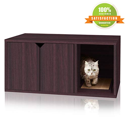 Way Basics Modern Cat Litter Box Enclosure, Espresso (Tool Free Assembly and Sustainably Made from Non Toxic zBoard paperboard)