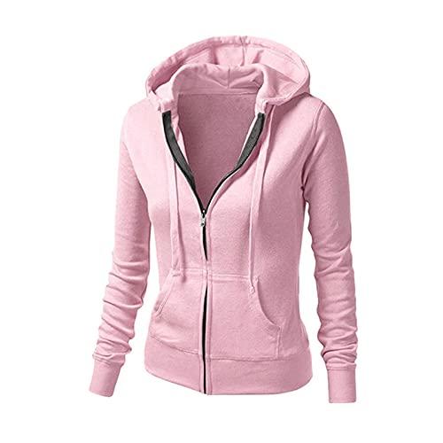 Sudadera con capucha para mujer, cuello alto, con capucha, para otoño e invierno, corte ajustado, cuello alto, con empalmes y cordón, 03-rosa, S