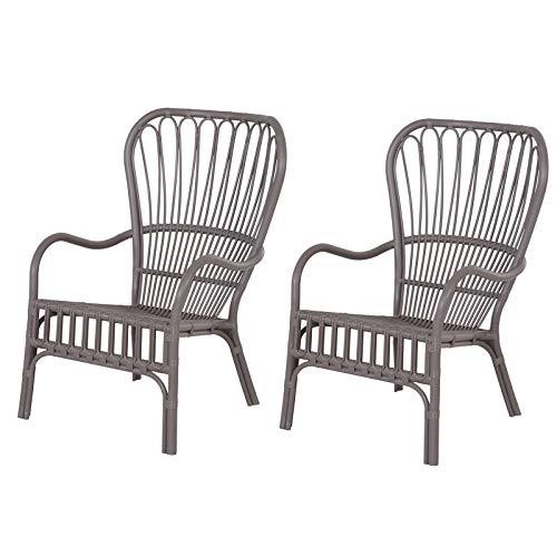 Lot de 2 fauteuils Lounge de Jardin terrasse Balcon - Style néo-rétro - Imitation rotin - polypropylène - Gris