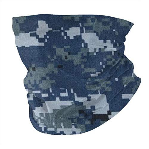 Seamless Quick Dry Breathable Outdoor UV Protection Navy Blue Digital Camo Head Wrap Face Scarf Neck Gaiter Bandana Balaclava