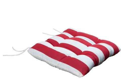 Wagner Textilien Stuhlkissen Sitzkissen Kissen Bindebänder 40x40x8 cm Blockstreifen rot weiß