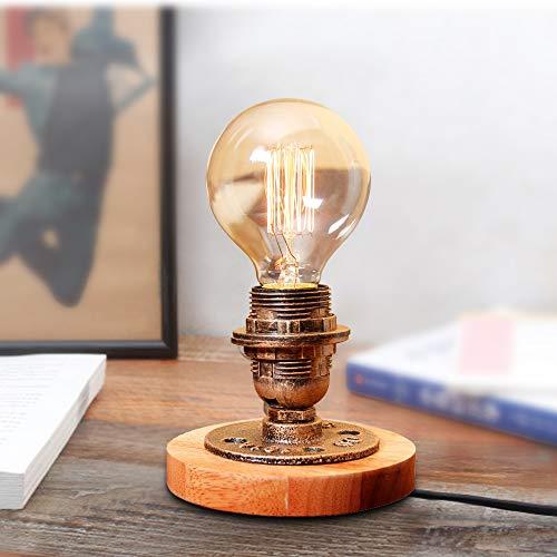 Vintage Tischleuchte Dimmbar Industrielampe Schreibtischlampe Edison Stil Holz Deko NachttischlampeE27 Antiken Nachtlampe mit Dimmer für Studie Schlafzimmer Café Restaurant (ohne Birne)
