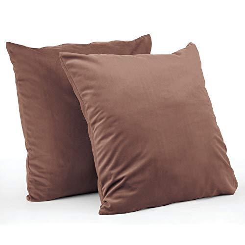 mDesign Juego de 2 fundas de cojín – Forro para cojines hipoalergénico de poliéster con aspecto de terciopelo – Suaves fundas decorativas para cojines de sofá sin relleno – marrón