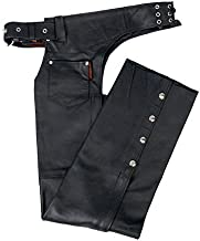 Hot Leathers Fully Lined Leather Chaps (Black, Small)