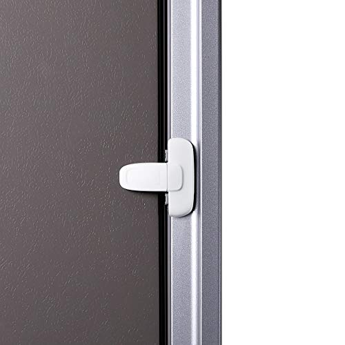 EUDEMON Serratura per frigorifero a porta singola di sicurezza per bambini serratura per mini frigorifero con congelatore, utilizzando adesivo 3M, senza attrezzi o punte da trapano (Bianco, 1 Pezzi)