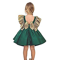 Green Sequin Kids Princess Outfits