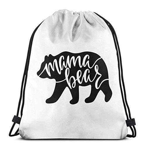 Bolsas De Cuerdas Gimnasio,Mochila con Cordón,Mama Bear para Mujer para Mujer Athletic Premium Quality Pull String Bag para Viajar Yoga Shopping School Workout Beach