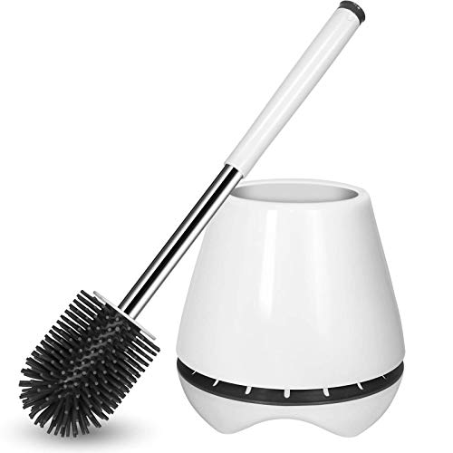 Toilet Brush and Holder Silicone Toilet Bowl Brush 304 Stainless Steel Brush Handle Bathroom Cleaning Bowl Brush Kit with Tweezers Sturdy Cleaning Toilet Brush