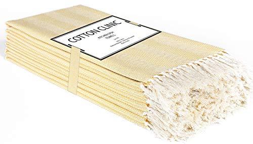 Katoenen-Kliniek 6 Stuks keukendoeken 40 x 66 cm, theedoeken, bar handdoeken, 100% katoen Duurzaam Absorberende vaatdoeken, Machinewasbaar - geel