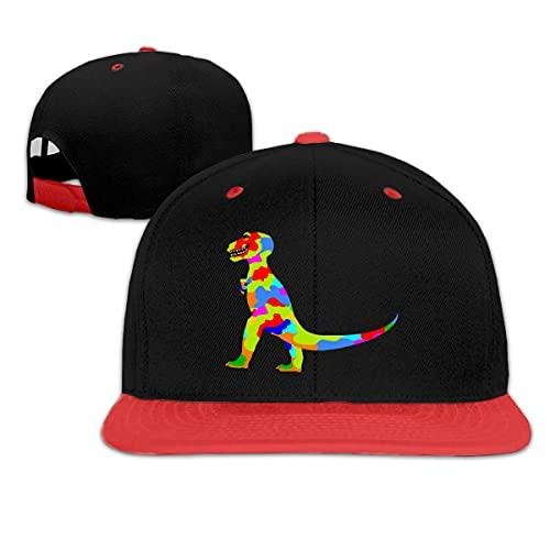 Rainbow Prehistoric Dinosaur Kid Cómodo Hip-Hop Béisbol Sombreros Ajustable Running Sombreros-Rojo