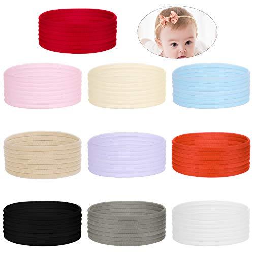 Homgaty Nylon Stirnbänder, 100 Stück Nylon Haarband Elastisch Stoff Stirnband Superweiche Dehnbare Haarbänder DIY Stirnbänder für Baby Kleinkinder Kinder Mädchen