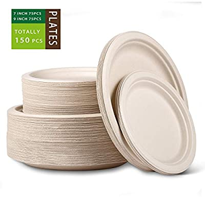 "[150 PCS] Natural Disposable Paper Plates,9"" and 7"" Paper Plates Heavy Duty,Eco-Friendly Sugarcane Fibers Compostable Plates,Disposable Plates for Parties,Wedding,BBQ,Dinner"
