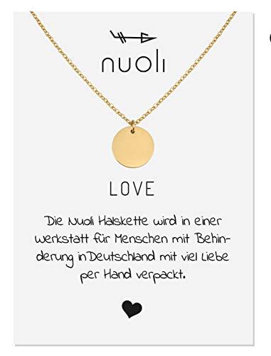 Nuoli Coin Kette Damen (45 cm) Halsketten für Frauen Gold, Filigrane Kette, Freundschaftskette, Glücksbringer als Geschenk