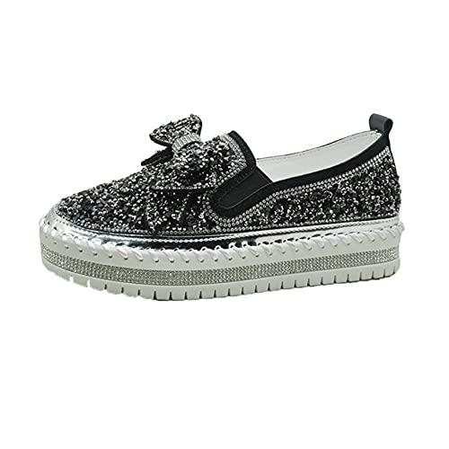 Mocasines Zapatos para Mujer Diamantes de imitación en Primavera Verano Casual al Aire Libre Resbalón en Zapatos Suaves de Punta Redonda y Ligera Mocasín