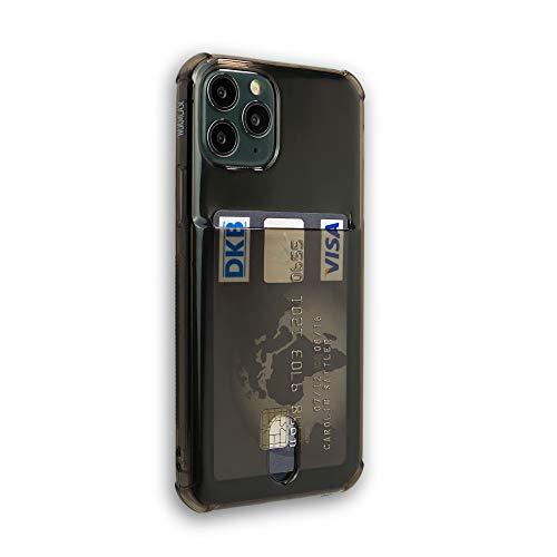 Wormcase ® Kunststoffhülle mit Kartenfach kompatibel für das Appel iPhone 11 Pro - Schwarz - TPU Schale Back-Cover Schutz-Tasche Kratzfest Stoßfest Bumper Crystal-Clear dünn leicht schmal