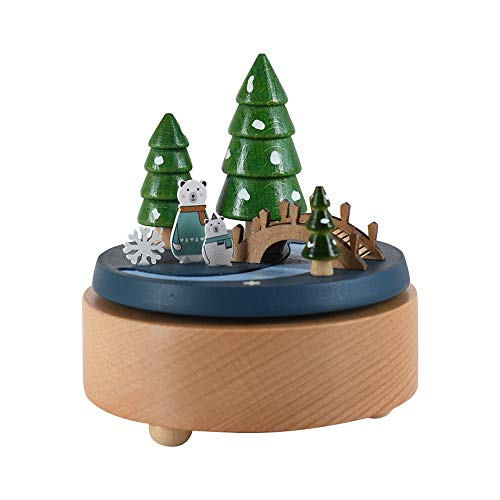 VSander Zwei kleine Bären aus Holz Spieluhr Clockwork Drive Buche Kinderhandwerk Kreative Geschenke Geburtstagsgeschenk Valentinstagsgeschenk Pure Musik