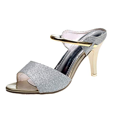 Frauen Sommer High Heels Pailletten Stoff Open-Toe Pumps Kegel Absatz Slip-On Mules Party High Heels