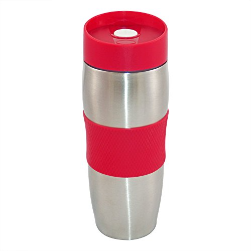 CENOCCO CC-6000 - Mug Isotherme - 380 ml - Couvercle amovible - Rouge