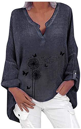 Kobiety Oversize letnie bluzki Elegancka bluzka z nadrukiem motyla Bluzki z długim rękawem Tunika Luźne długie topy Koszula Casual bluzka (Color : Gray, Size : Medium)