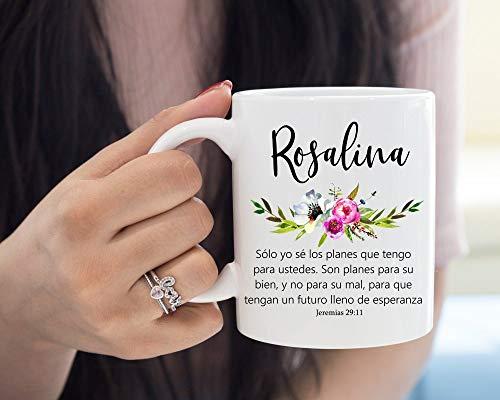 Tasse, spanischer Bibelvers, Kaffeetasse, personalisierbar, Jeremias 29Spanische Bibel, englischsprachiger Name