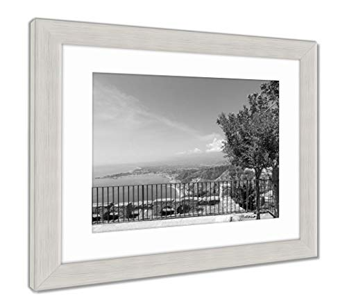 Ashley Framed Prints Panorama Taormina with View at Etna Volcano Sicily Italy, Wall Art Home Decoration, Black/White, 30x35 (Frame Size), Silver Frame, AG5628514