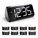 Alarm Clock with Night Light for Bedrooms, Simple Large LED Display Big Number Digital Alarm Clock with 7 Color Night Light, Dual Alarm, Dimmer, USB Charger, Bedside Clock for Kids, Adults and Seniors