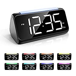 Alarm Clock for Bedrooms with Night Light, Simple Large LED Display Big Number Digital Alarm Clock with 7 Color Night Light, Dual Alarm, Dimmer, USB Charger, Bedside Clock for Kids, Adults and Seniors
