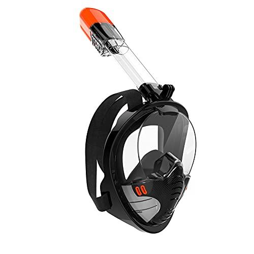 chebao 180° Seaview Máscara de buceo fácil respiración, máscara de buceo de cara completa anti niebla natación máscara respiratoria (negro L/XL)