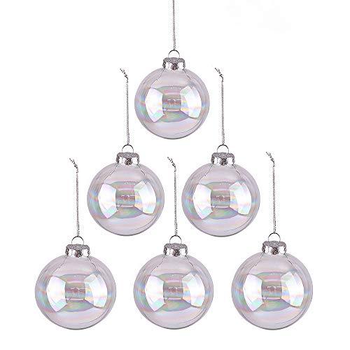 Valery Madelyn 6pcs Bolas de Navidad de Cristal, Adornos de Navidad para Árbol de Vidrio Transparente, Bolas de Navideños Decoración para Colgante