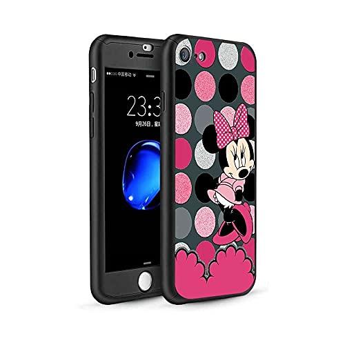 qiaohuan shop Funda para iPhone 6/iPhone 6S, diseño de Mickey Minnie 360, funda delgada con protector de pantalla de vidrio templado y soporte para anillo para iPhone 6/iPhone 6s #03