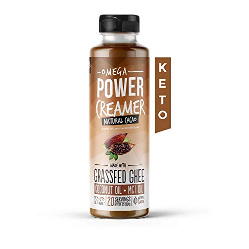 Omega PowerCreamer - CACAO Keto Coffee Creamer - Grass fed Ghee, Organic Coconut Oil, MCT Oil, Organic Cacao Powder | High Fat Butter Blend | Paleo, Ketogenic, Sugar Free, 10 fl oz (20 servings)