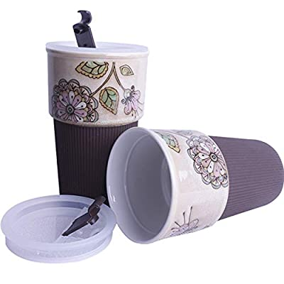 Hand Painted Flowers 16 Oz Ceramic Travel Mug