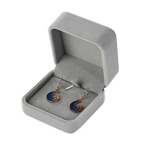 Caja para pendientes, presentación de terciopelo sintético, para joyas, anillos, collares, pulseras, etc.