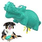 VavoPaw Juguete Hipopótamo Resistente Mordeduras para Perros, Cepillo Dientes Caucho Duradero Sonoro Limpieza Masticable Alimentador Fuga Juego Interractivo para Mascotas Medianos Grandes, Lago Azul