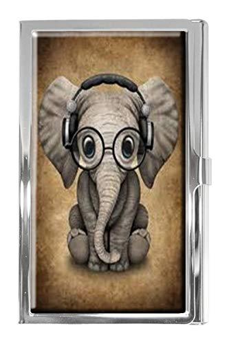 Cute Baby Elephant DJ, mit Kopfhörern, Visitenkartenetui, Edelstahl, Brieftaschen-Design, für Damen und Herren