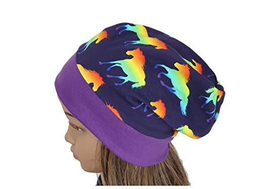 Mütze Beanie - Einhorn Pferde neon - Kinder Mädchen blau