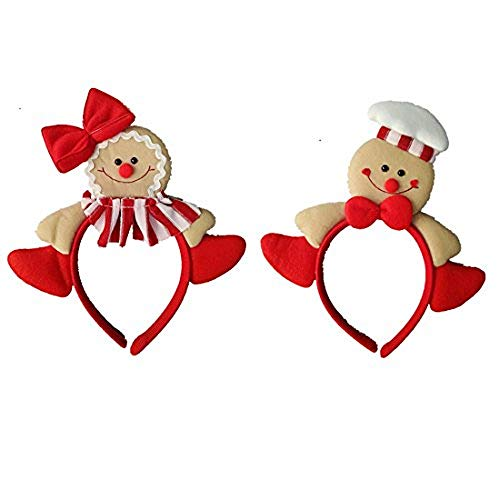 WINZIK Christmas Headwear Gingerbread Man Striped Bowknot Hair Hoop Cute Headband Xmas Holiday Party Supplies Gifts (Pack of 2,Gingerbread Girl&Boy)
