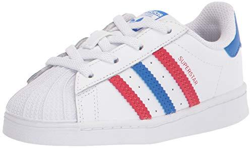 adidas Originals Kids Superstar Shoes Sneaker, White/Blue/Scarlet, 5.5 US Unisex Toddler