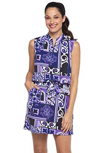 IBKUL Women's Sun Protective UPF50+ Icefil tech Jacklin Print Sleeveless Drawstring Dress - 63859 Purple/Lavender Jacklin L